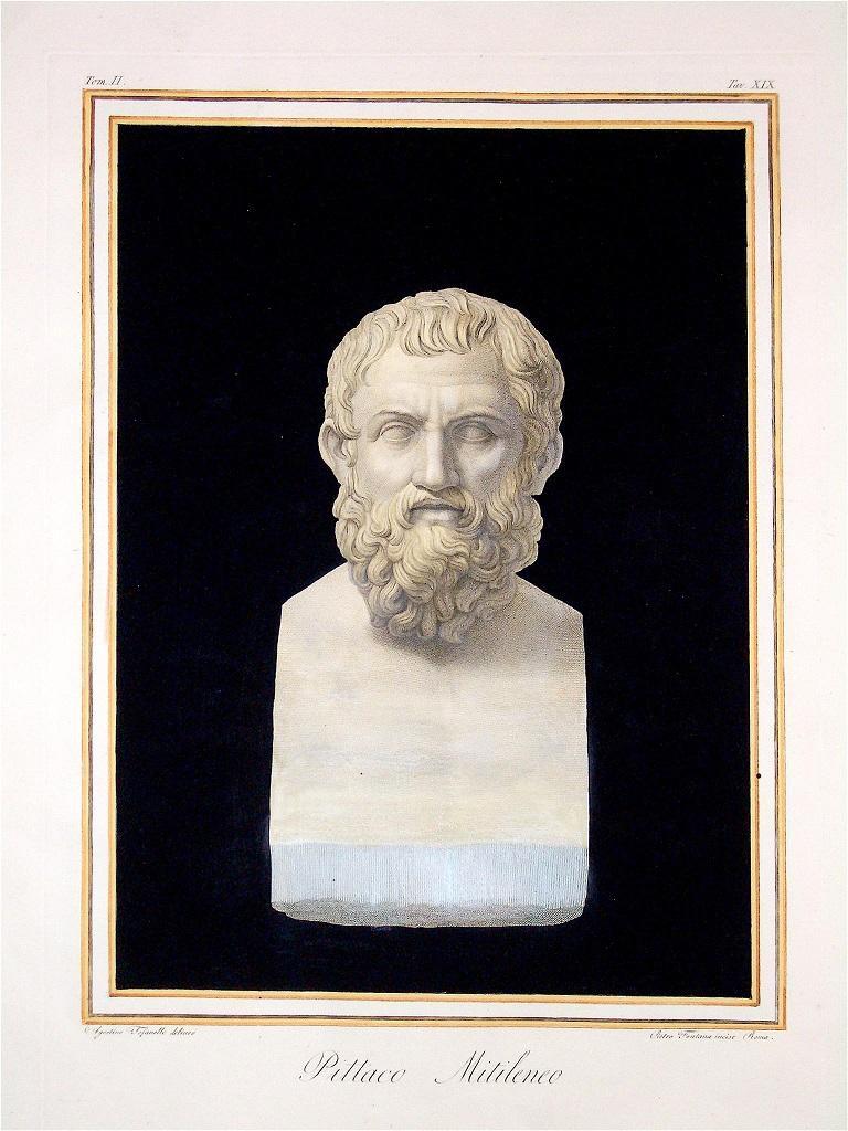 Pittaco Mitileneo - Original Etching by Agostino Tofanelli - 1821