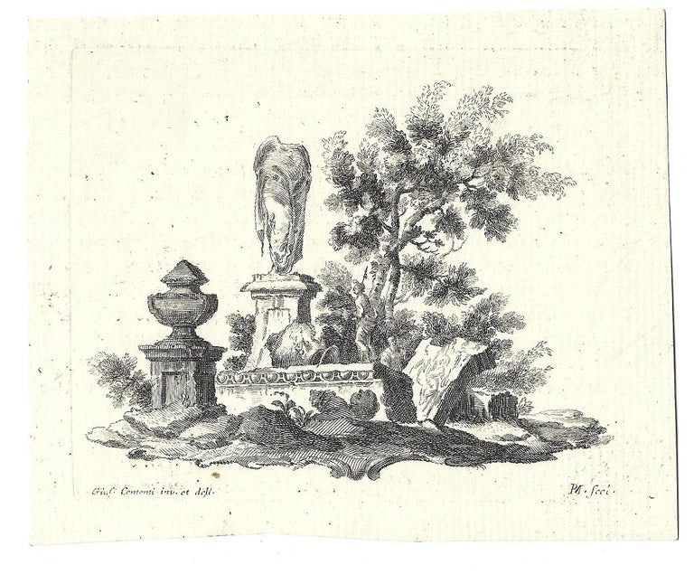 Ruins - Original Etching after Giuseppe Contenti - 1790s - Print by Giuseppe Contenti