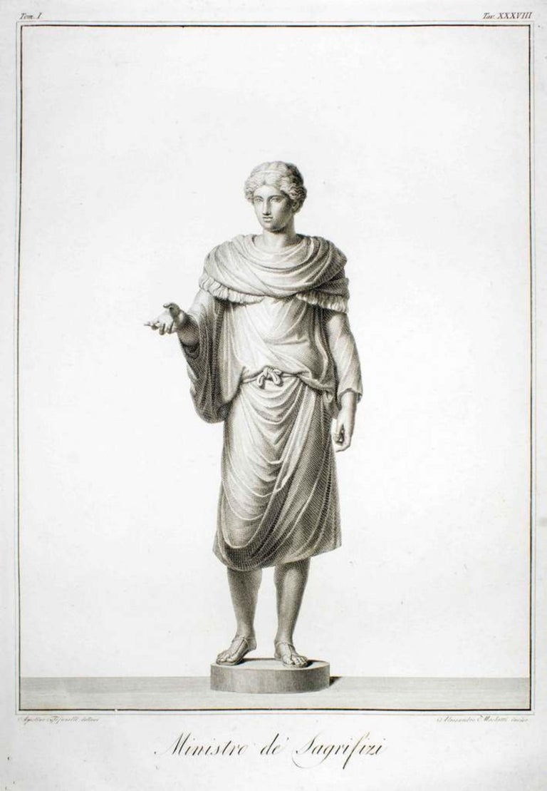 """Minister of Sacrifices (Original Title: """"Ministro de' Sagrifizi"""") is an original etching realized in 1794.  Image Dim: cm 48 x 33, Dim: cm 59 x 44.  Wonderful B/W Etching on copper. Designed by Agostino Tofanelli and engraved by Alessandro Mochetti."""