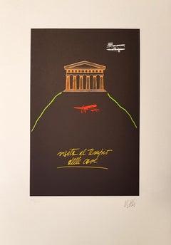 Visita il Tempio delle Cose - Lithograph by Fabio De Poli - 1970s