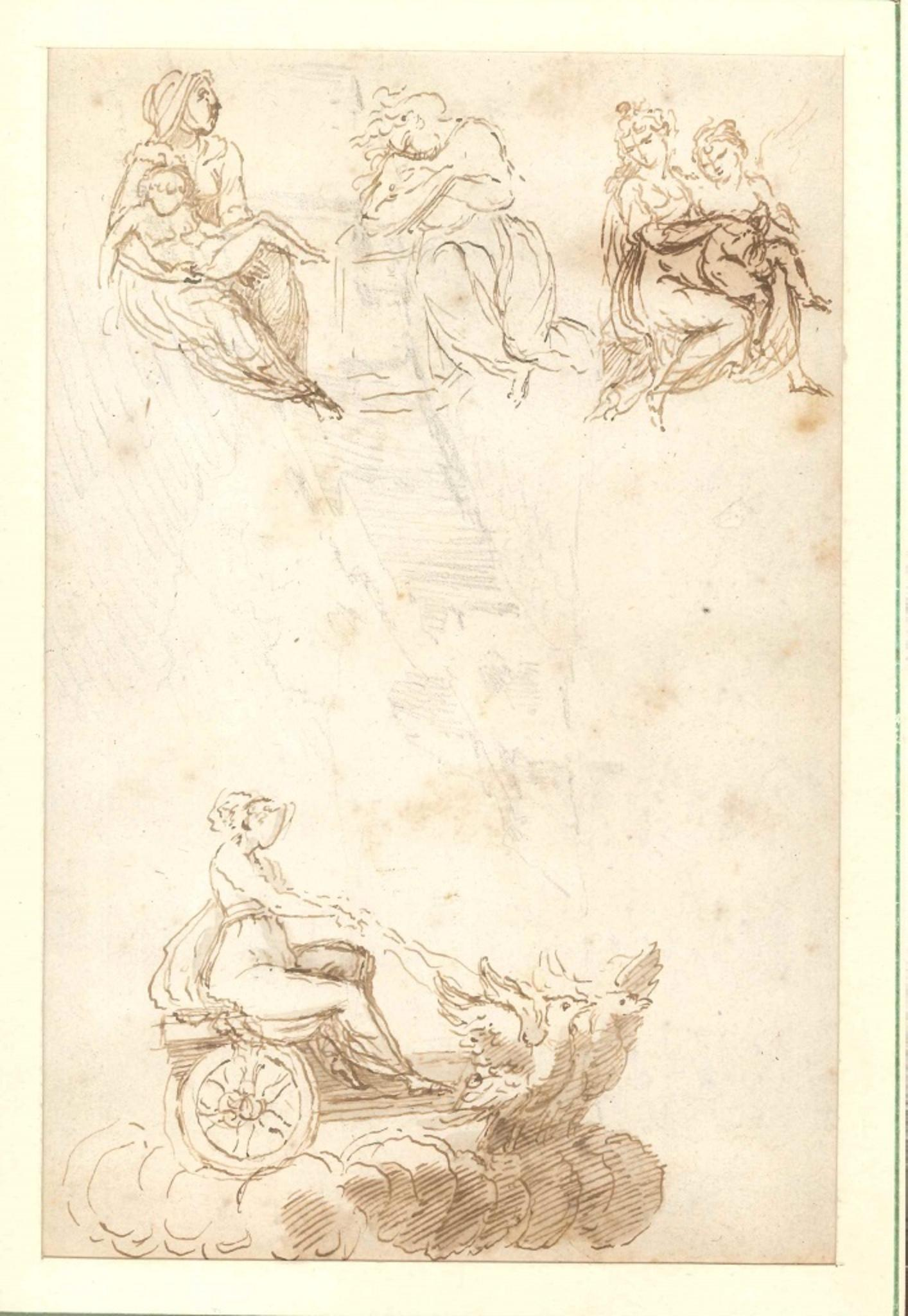 Virgin on a Winged Cart - Original Ink and Watercolor - 18th Century