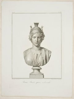 Roma, Busto quasi colossale - Original Etching by Alessandro Mochetti - 1821