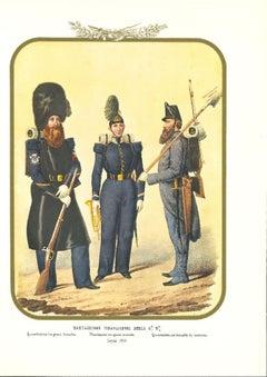 Second Royal Guard Shooter Battalion - Original Lithograph by A. Zezon - 1856