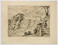 Landscape - Original Etching by Friedi Gold Boille - 1935