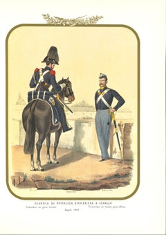 Horse Public Security Guard - Original Lithograph by Antonio Zezon - 1852