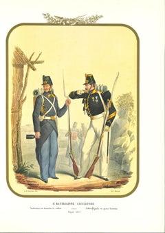 VI Hunter BattalionSimple Product - Original Lithograph by Antonio Zezon - 1853