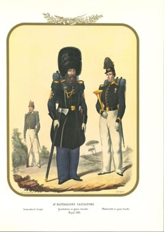 VIII Hunter Battalion - Original Lithograph by Antonio Zezon - 1853