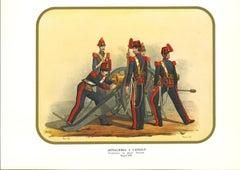 Horse Artillery - Original Lithograph by Antonio Zezon - 1853
