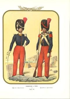 Carabinieri - Original Lithograph by Antonio Zezon - 1853