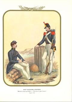 Battalion Zappatori and Pioneri - Original Lithograph by Antonio Zezon - 1853