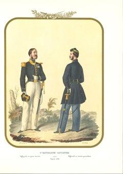VI Hunter Battalion - Original Lithograph by Antonio Zezon - 1853