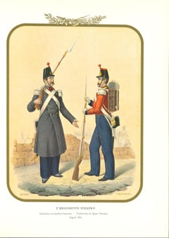 II Swiss Regiment - Original Lithograph by Antonio Zezon - 1854