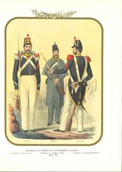 Public Security Guard - Original Lithograph by Antonio Zezon - 1852