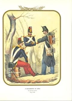 III Line Regiment - Original Lithograph by Antonio Zezon - 1853