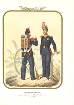 Swiss Artillery - Original Lithograph by Antonio Zezon - 1854