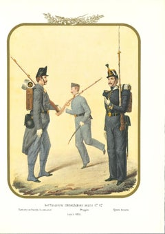 Fourth Royal Guard Shooters Battalion - Original Lithograph by A. Zezon - 1856