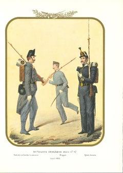 Fourth Royal Guard Shooters Battalion - Original Lithograph by A. Zezon - 1856