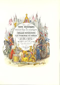 """Frontispiece of """"The Royal Army"""" - Original Lithograph by Antonio Zezon - 1850"""