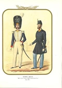 Real Guards - Original Lithograph by Antonio Zezon - 1854