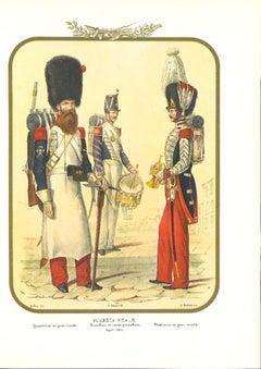 Real Guard - Original Lithograph by Antonio Zezon - 1852