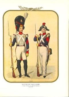 Bodyguards - Original Lithograph by Antonio Zezon - 1851