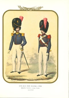 Guides of the General State on foot- Original Lithograph by Antonio Zezon - 1855