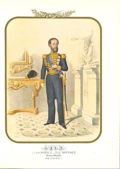Prince Louis Bourbon - Original Lithograph by Antonio Zezon - 1850s