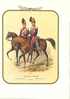 Honor Guard - Original Lithograph by Antonio Zezon - 1852