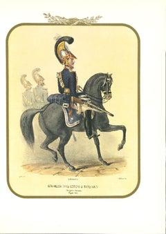 Bodyguard on Horseback - Original Lithograph by Antonio Zezon - 1851