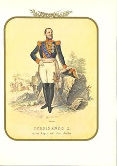 King Ferdinand II - Original Lithograph by Antonio Zezon - 19th Century