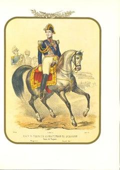 The Prince of Borbone - Original Lithograph by Antonio Zezon - 1851