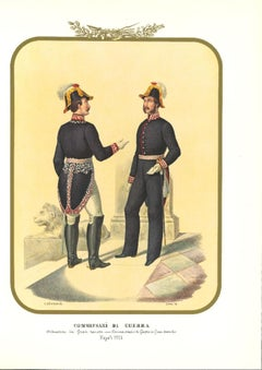 Commissioners of War - Original Lithograph by Antonio Zezon - 1854