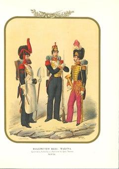 Second Royal Navy Regiment - Original Lithograph by Antonio Zezon - 1854