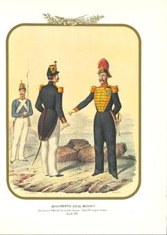 First Royal Navy Regiment - Original Lithograph by Antonio Zezon - 1855