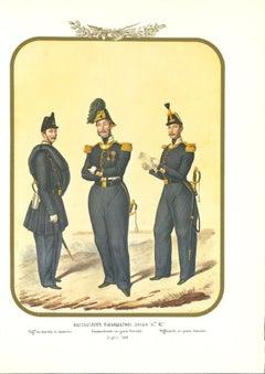 Third Royal Guard Shooter Battalion - Original Lithograph by A. Zezon - 1856