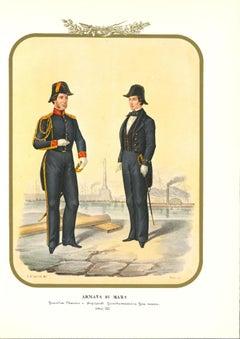 Royal Navy: Ensign - Original Lithograph by Antonio Zezon - 1855