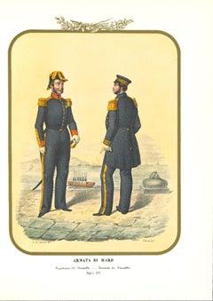 Navy: Captain and  Lieutenant -Original Lithograph by A. Zezon - 1855