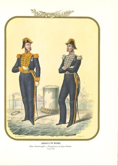 Navy: Rear Admiral and Brigadier - Original Lithograph by A. Zezon - 1855