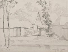The House in Picardie - Original Pencil by E. Hebert - 1856