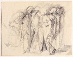 Figures - Original Carbon Pencil Drawing - Early 20th Century