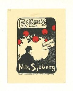 Ex Libris Nils Sjoberg - Original Woodcut - 1951