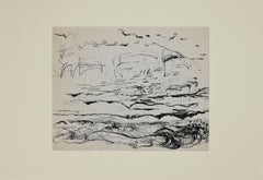 Landscape - Original Pencil and Pen by Herta Hausmann - Mid-20th Century