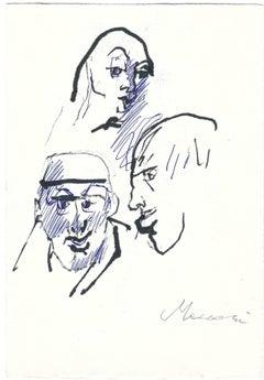 Three Sketched Portraits - Original China Ink by Mino Maccari - 1960s