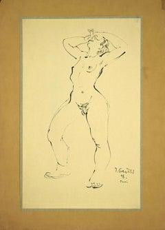 Nude of Woman 1946 - Original China Ink Drawing by Tibor Gertler - 1946