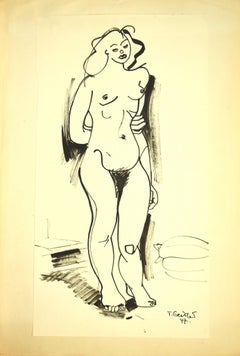 Nude 1947 - Original China Ink by Tibor Gertler - 1947