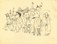 On the Street - Original Pen Drawing on Paper by Mino Maccari - 1960s