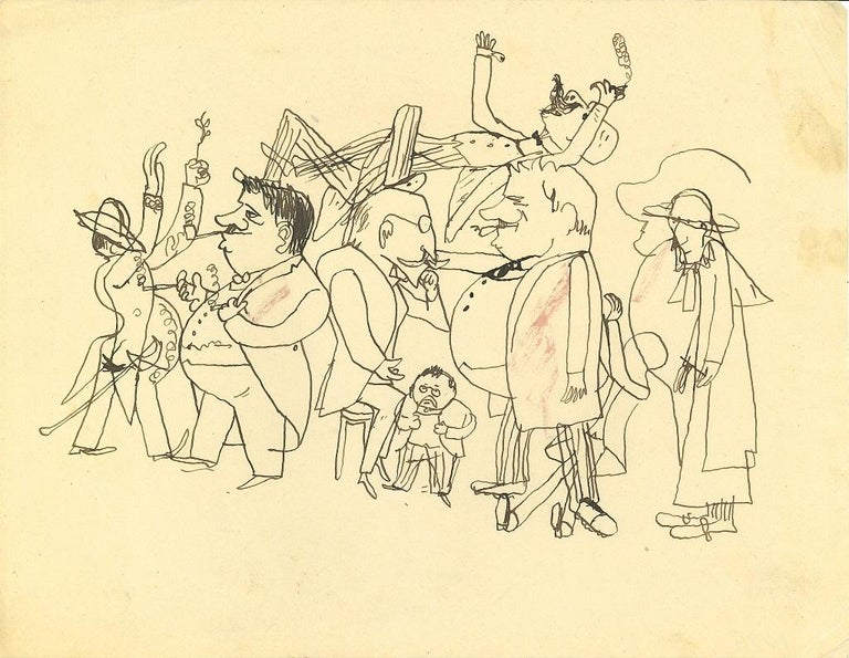 On the Street - Original Pen Drawing on Paper by Mino Maccari - 1960s - Art by  Mino Maccari