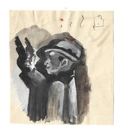 A Gangster - Original Watercolor Drawing on Paper by Mino Maccari - 1970s