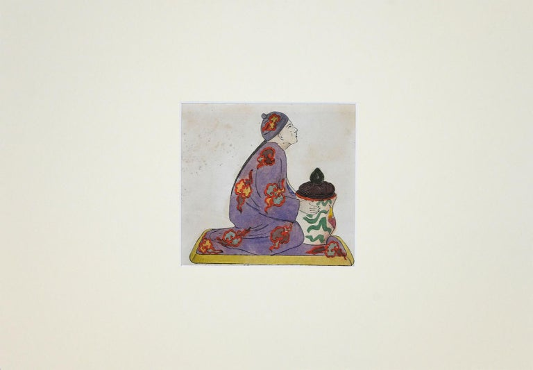 Unknown Figurative Art - Porcelain Inkwell - Original Ink and Watercolor Drawing - 1890 ca.