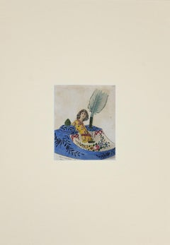 Porcelain Inkwell - Original Ink and Watercolor Drawing - 1890s